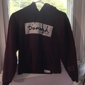 Diamond Supply Co. Burgundy Hoodie Sweatshirt